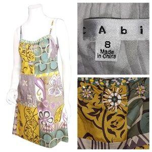 Cabi size (8) Green & Yellow patchwork Boho dress